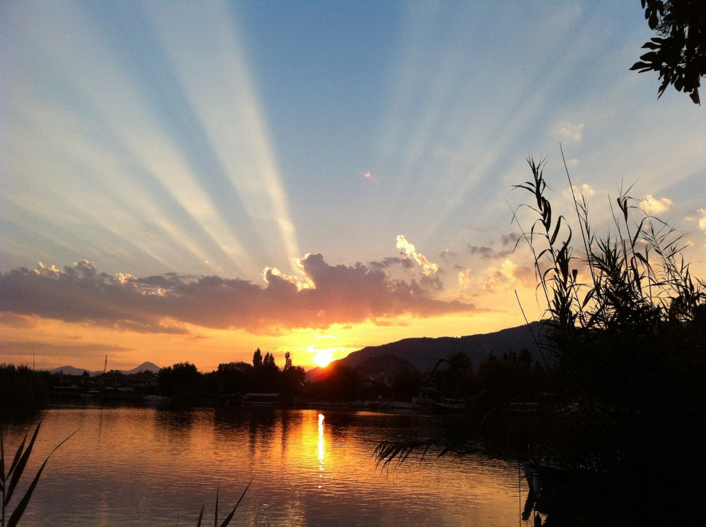 Sunrise over river in Dalyan